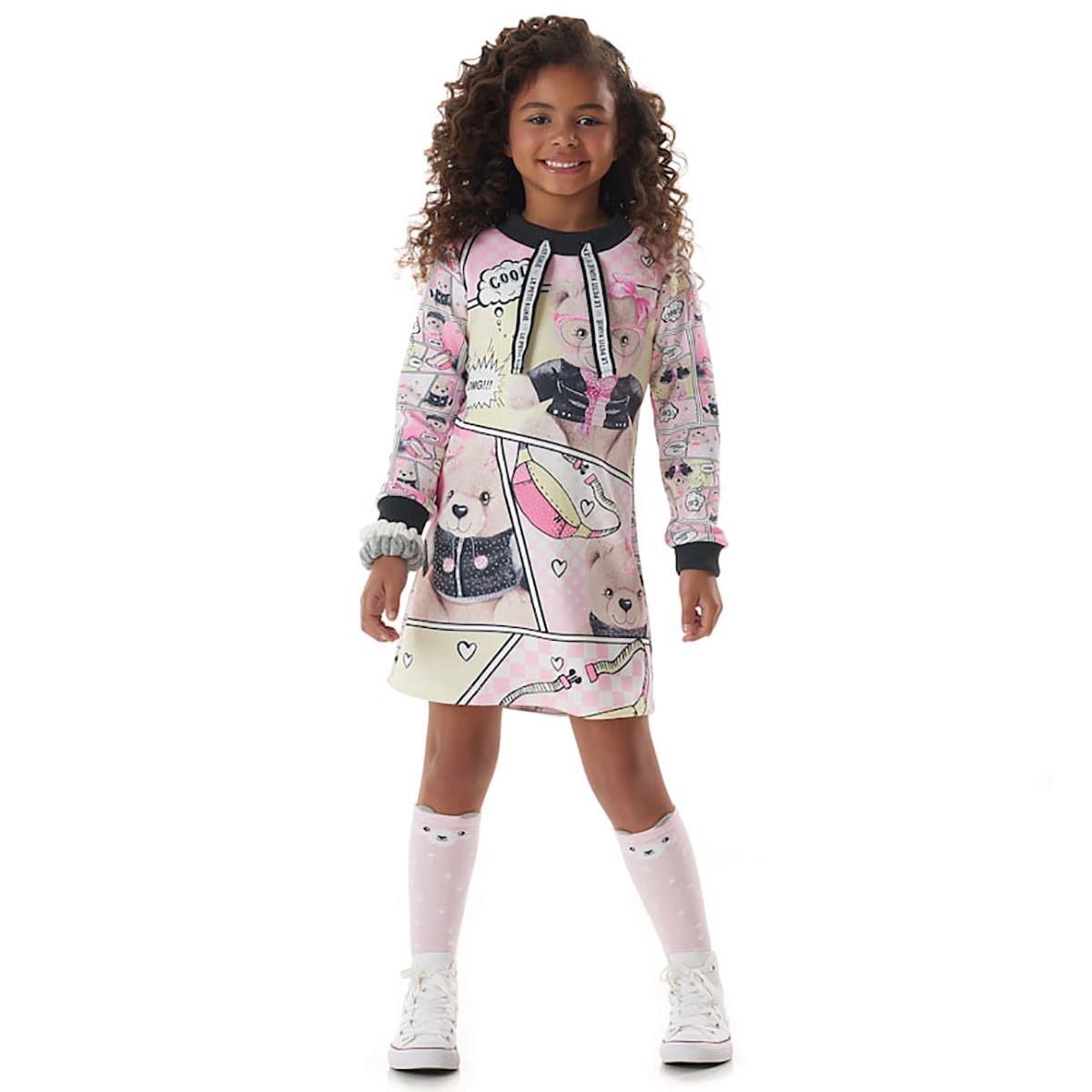 Vestido Kukie Feminino Infantil Ursinhos Quadrinhos