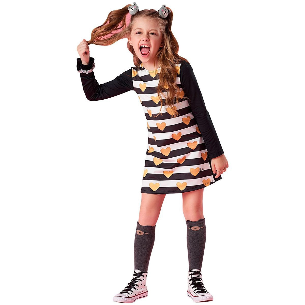 Vestido Kukie Feminino Infantil Corações Do Amor