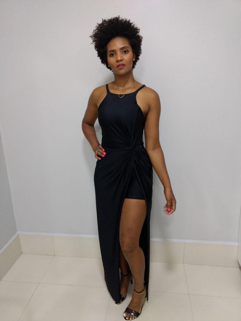 Vestido Longo Trimix Preto Feminino