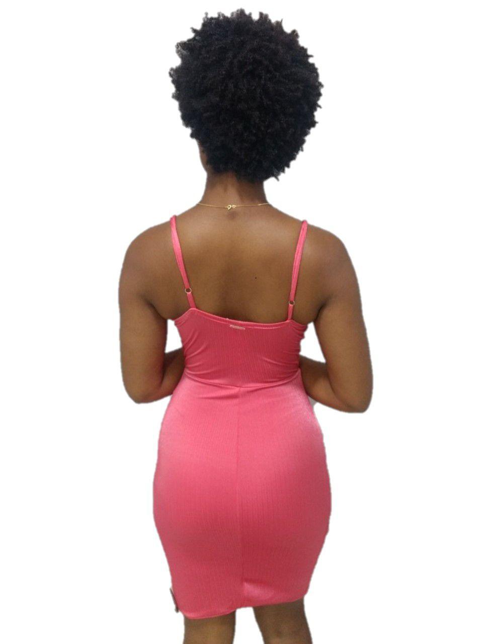 Vestido Trimix Rosa Medio Feminino