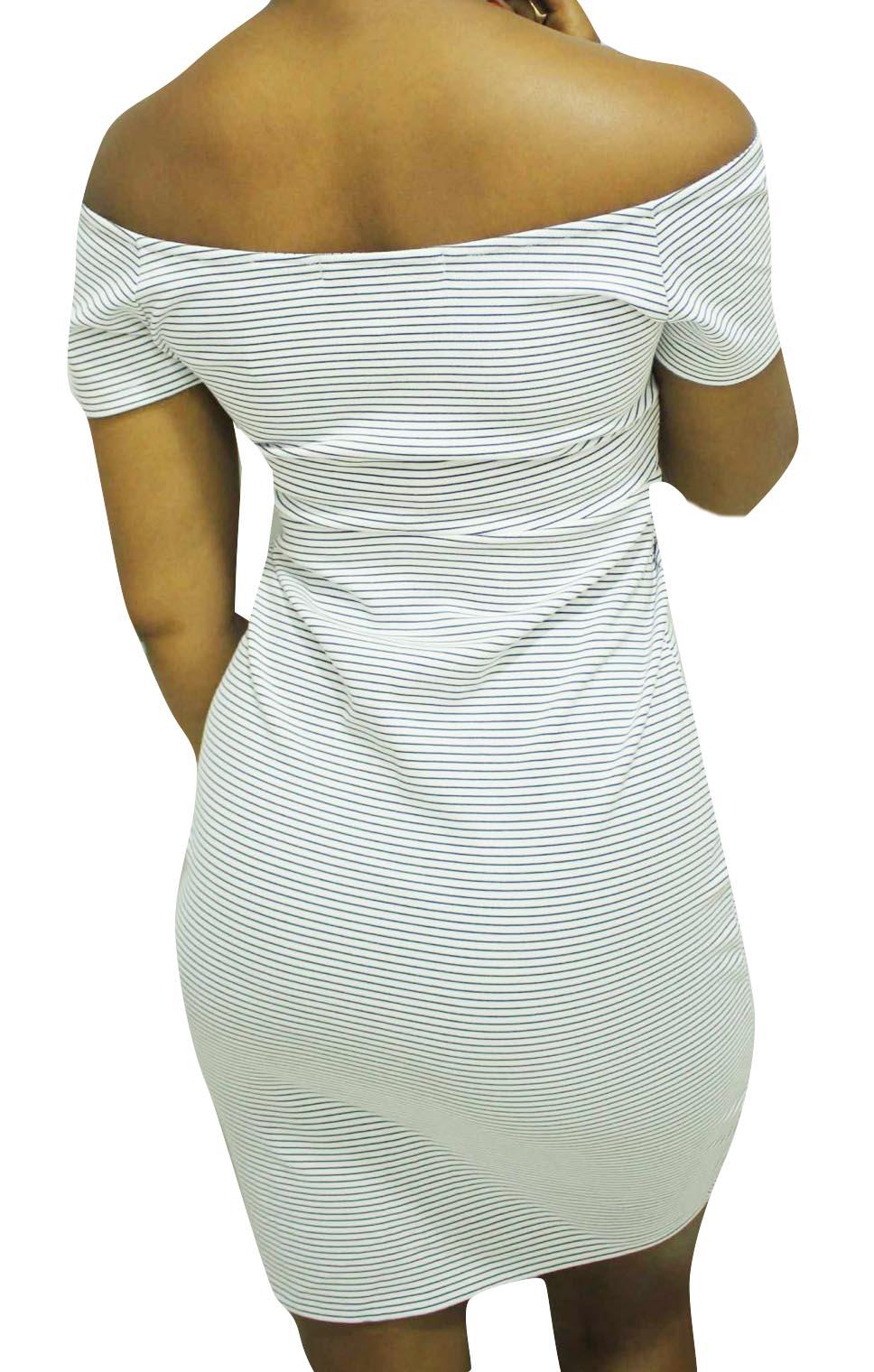 Vestido Tubinho Parado no Ar Listrado Branco