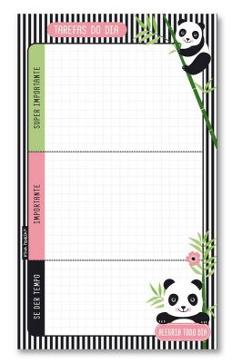 Bloco Tarefas do dia Panda