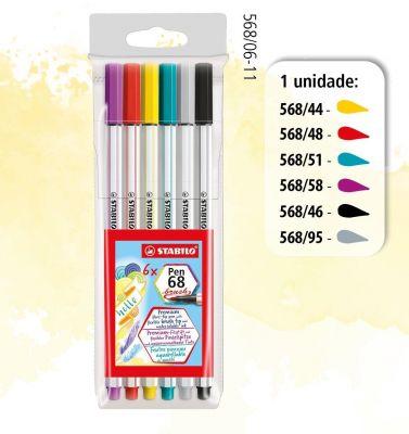 Brush Pen Stabilo Estojo com 6 unidades