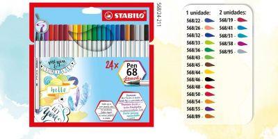 Brush Pen Stabilo Estojo com 24 unidades