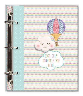 Caderno Argolado Fichario 'Nuvem e balão'