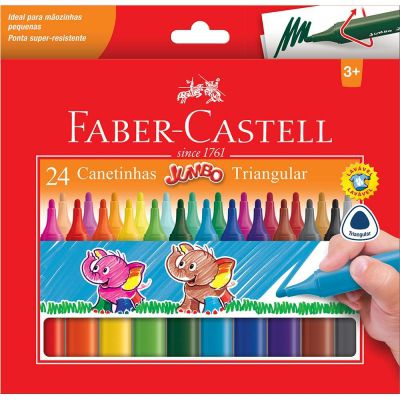Canetinha Jumbo Triangular 24 Cores Faber-Castell