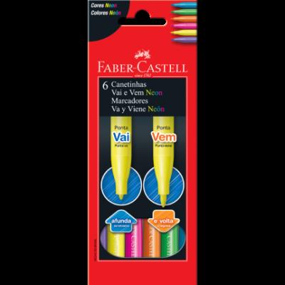 Canetinha Vai e Vem Neon 6 Cores Faber-Castell