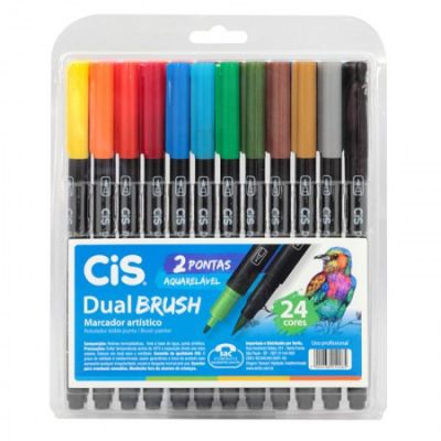 Dual Brush Pen Aquarelável CIS  24 cores