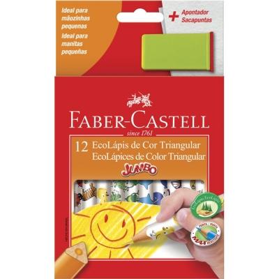 LAPIS DE COR JUMBO TRIANGULAR 12 CORES + APONTADOR FABER-CASTELL
