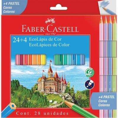 LAPIS DE COR SEXTAVADO 24 CORES + 4 CORES PASTEL FABER-CASTELL