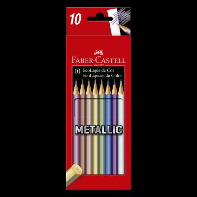 LÁPIS DE COR SEXTAVADO METALLIC 10 CORES FABER CASTELL