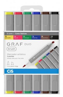 Marcador Artístico Brush Graf Duo 6 Tons básicos CIS