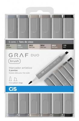 Marcador Artístico Brush Graf Duo 6 Tons de Cinza CIS