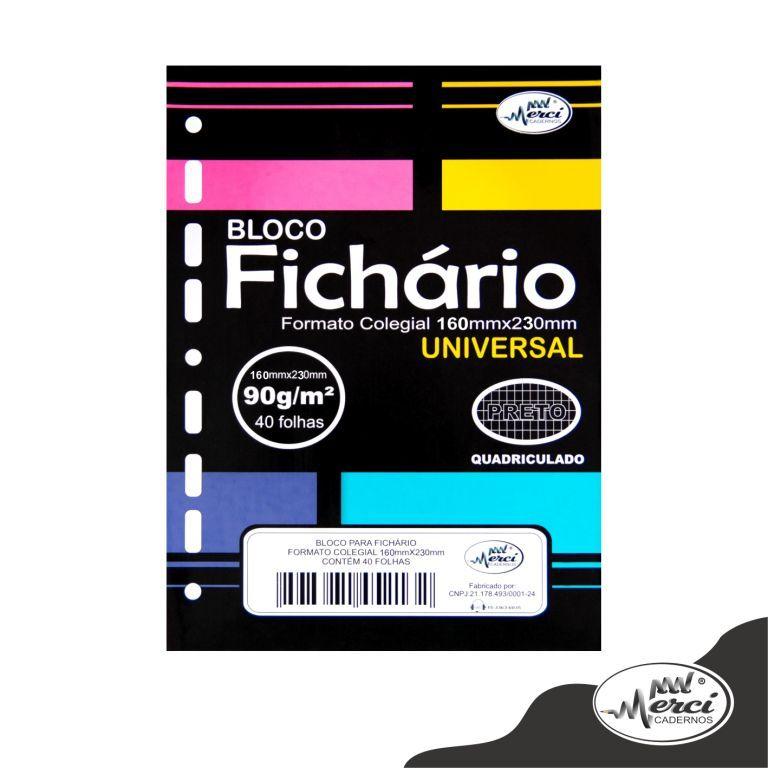 BLOCO FICHARIO COLEGIAL QUADRICULADO 40 FLS 90G PRETO MERCI