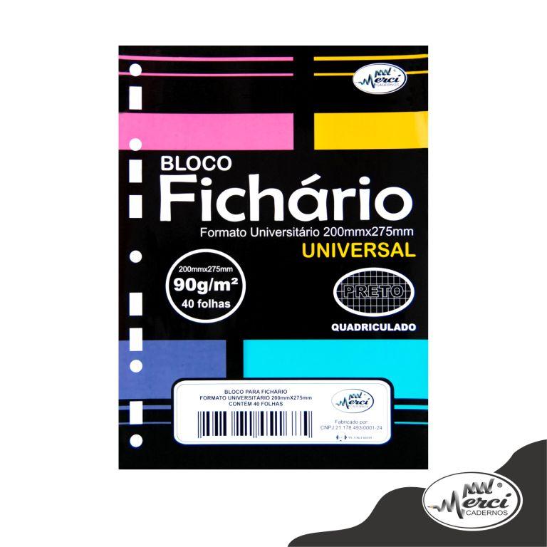 BLOCO FICHARIO UNIVERSITARIO QUARICULADO 40 FLS 90G PRETO MERCI