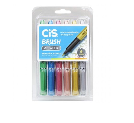 Brush Pen Metallic 6 Cores CIS