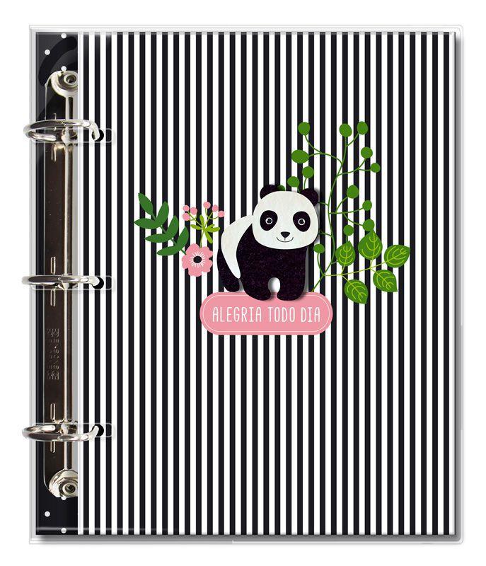 Caderno Argolado Fichario 'Panda'