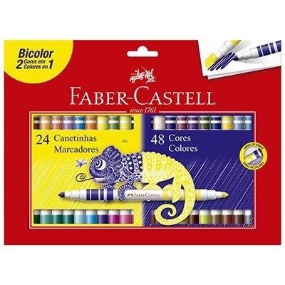 CANETA HIDROGRÁFICA BICOLOR 24/48 CORES FABER-CASTELL