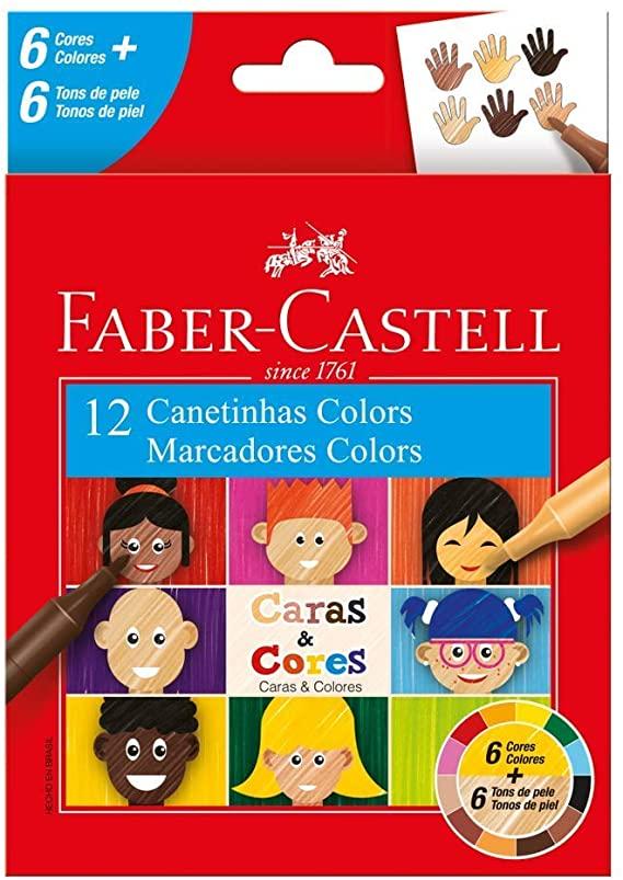 CANETA HIDROGRAFICA CARAS E CORES COM 12 CORES 6/6 FABER-CASTELL