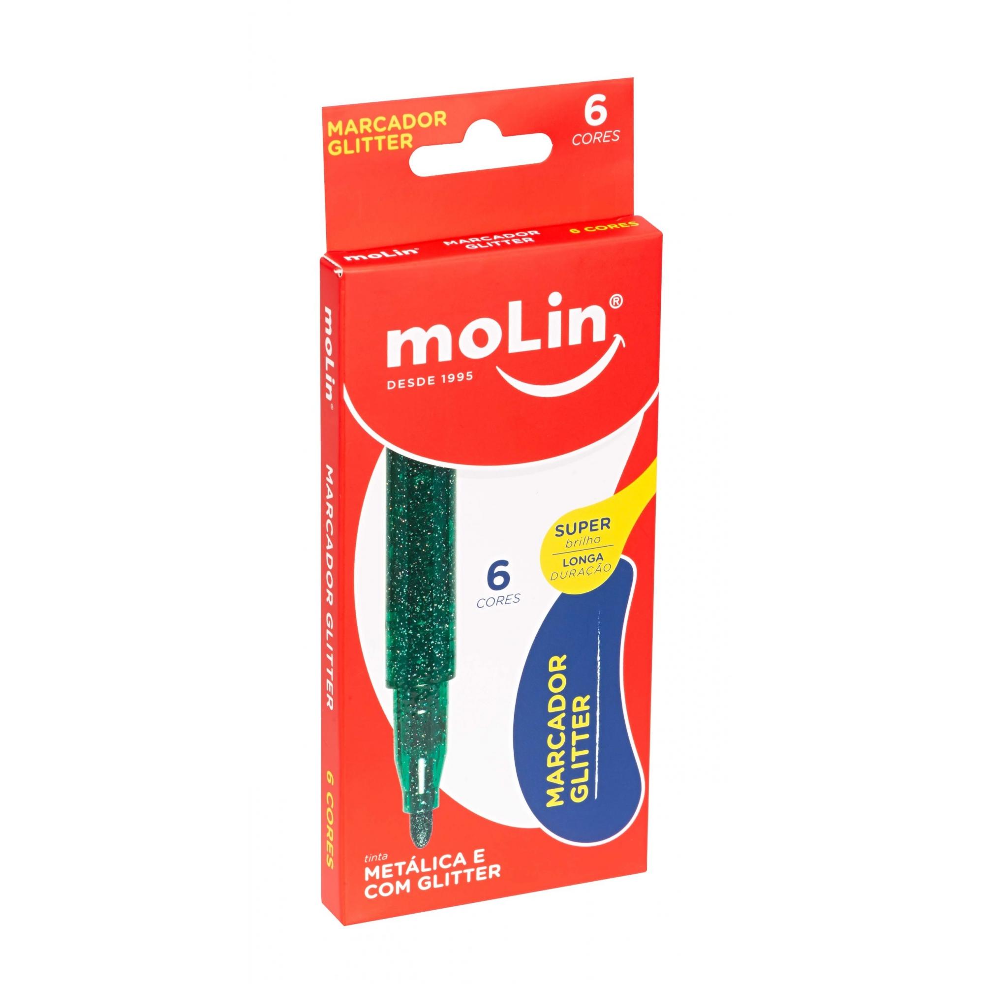 CANETA MARCADOR METALICA COM GLITTER 6 CORES MOLIN
