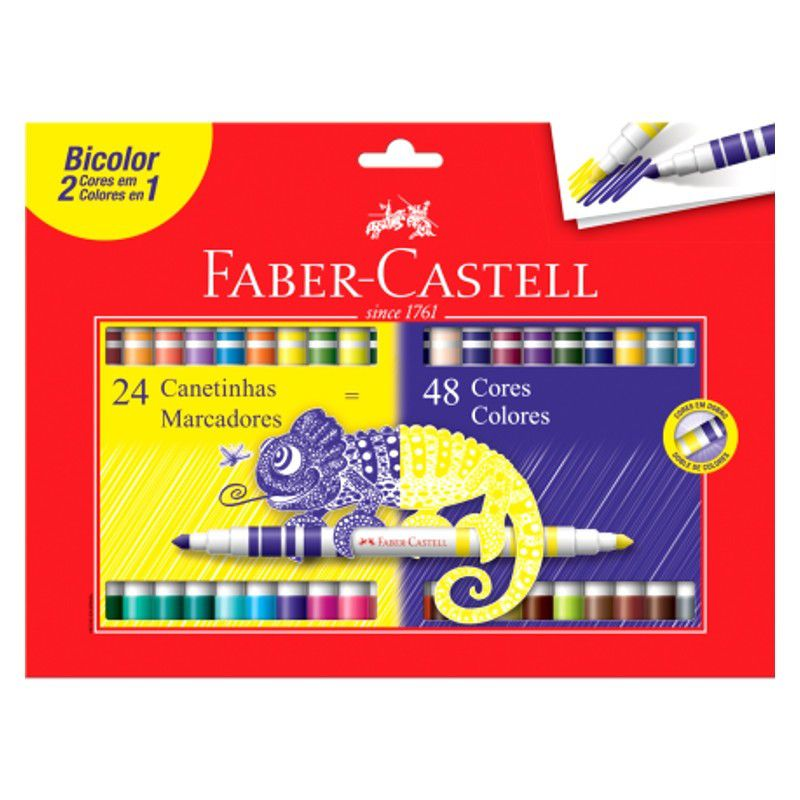 Canetinha Bicolor 48 cores Faber-Castell