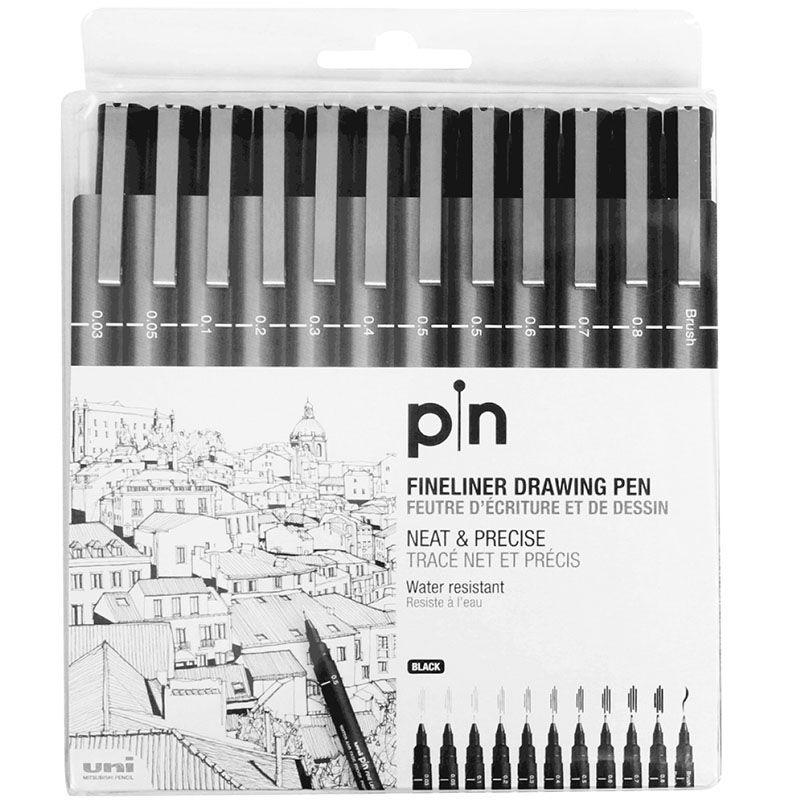 Estojo com 12 Canetas Fineliner Uni Pin