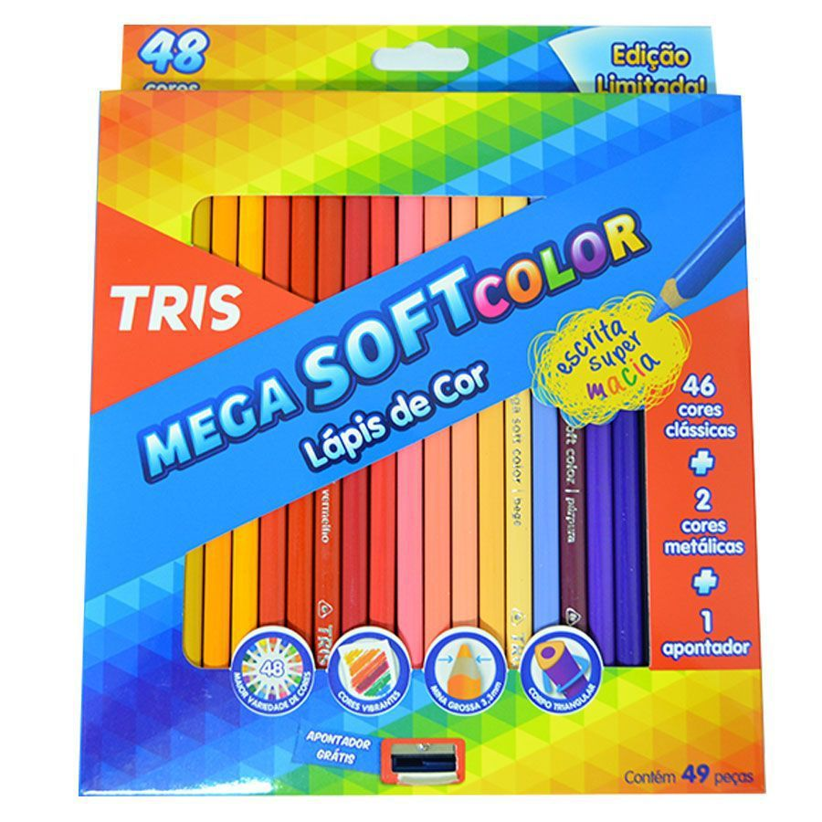 Lápis Mega Soft Color 48 cores Tris