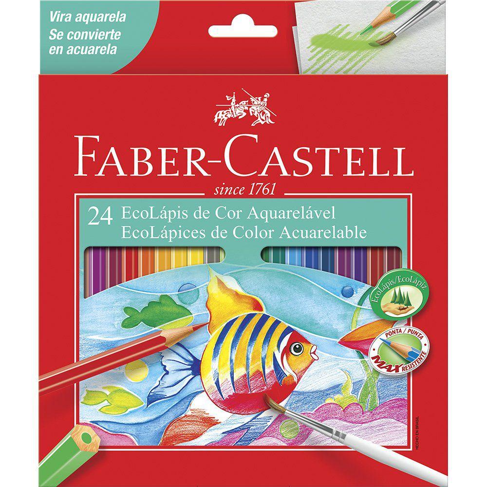 Lápis de Cor Aquarelável 24 cores Faber-Castell