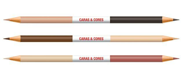 Lápis de Cor Caras e Cores 12 Cores + 6 Tons de Pele