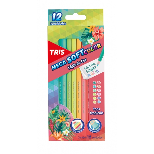LAPIS DE COR MEGA SOFT COLOR TROPICAL 12 CORES TRIS