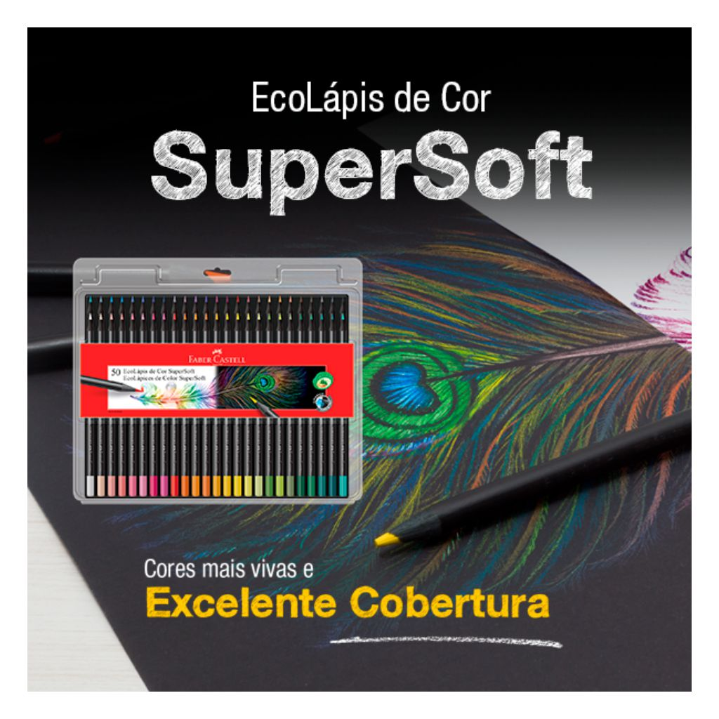 LÁPIS DE COR REDONDO SUPERSOFT 50 CORES FABER-CASTELL