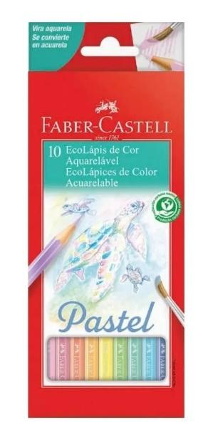 LAPIS DE COR SEXTAVADO AQUARELAVEL 10 CORES PASTEL FABER-CASTELL