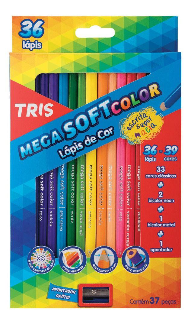 Lápis Mega Soft Color 36 cores Tris