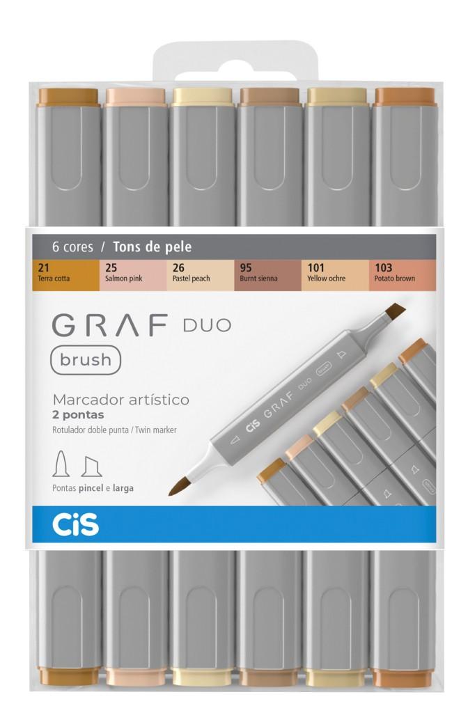 Marcador Artístico Brush Graf Duo 6 Tons de Pele CIS
