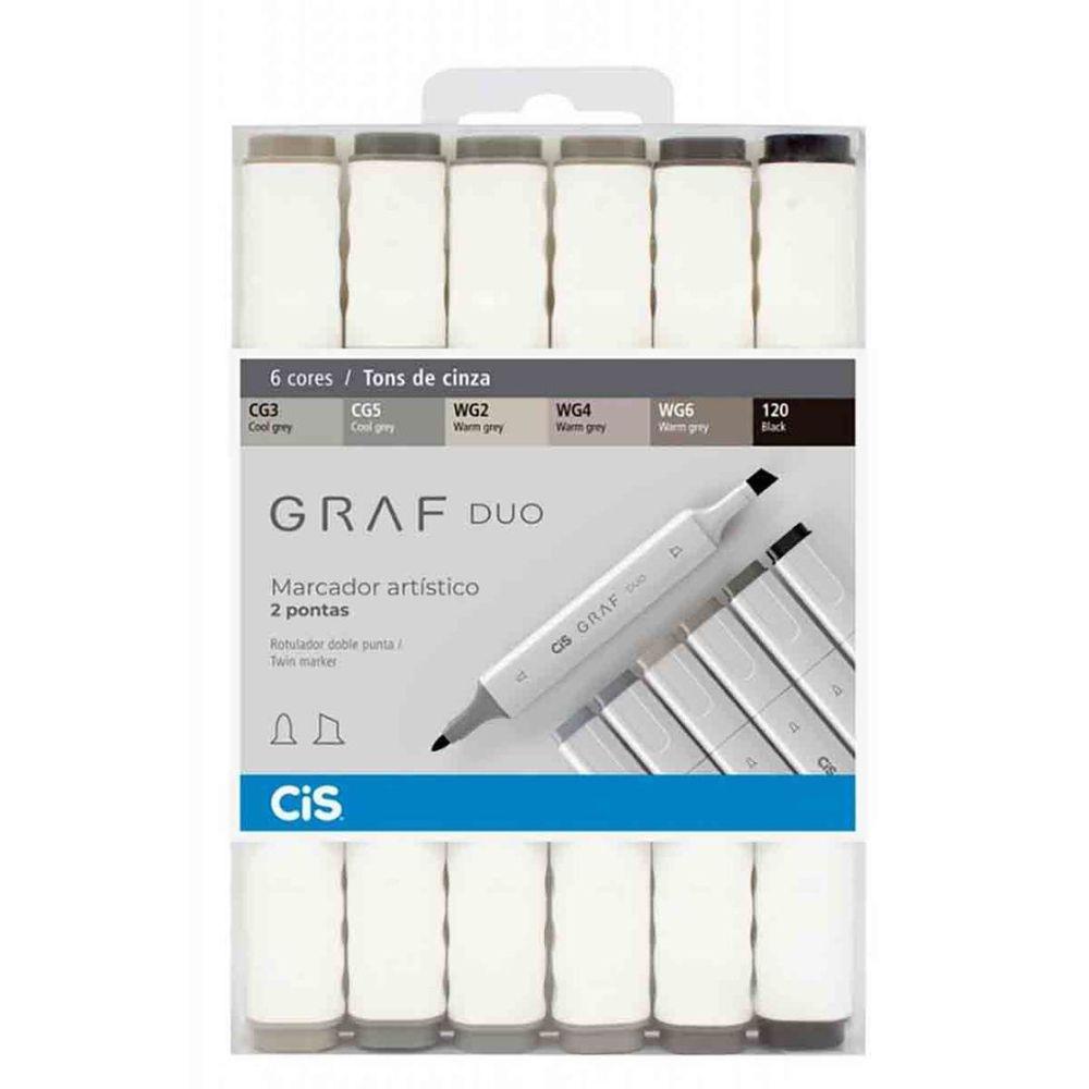 Marcador Artístico Graf Duo 6 Tons de Cinza CIS