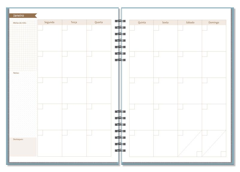 Planner Compacto Permanente Mensal Office Azul