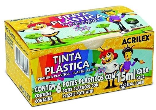 TINTA PLASTICA 6 CORES 15 ML ACRILEX