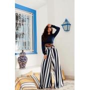 Conjunto listrado azul marinho e branco Pantalona e Cropped