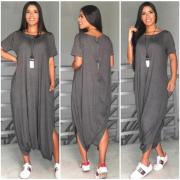 Macacão homewear mescla cinza comfy