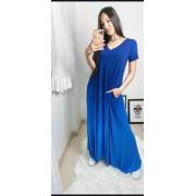 Vestido saruel Theodora moda comfy azul caribe