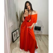 Vestido laranja Comfy boho style