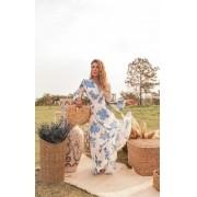 Vestido longo branco floral secret garden blue.