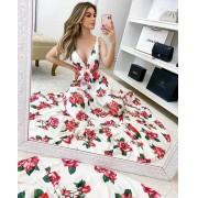 Vestido longo floral rosas saia 3 marias