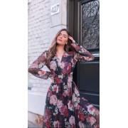 Vestido MIDI floral rosas tule
