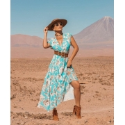 Vestido turquesa em tule floral