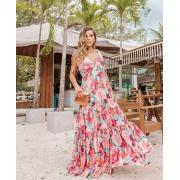 Vestido turquesa Floral tropical saia costura três Marias