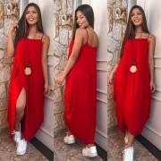 Vestido vermelho boho Comfy atemporal