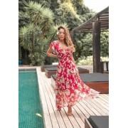 Vestido vermelho tule print floral