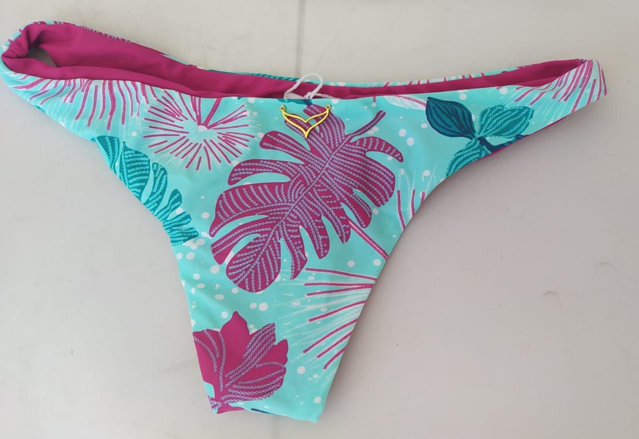 Biquíni tropical top ciganinha babado verde água e pink.
