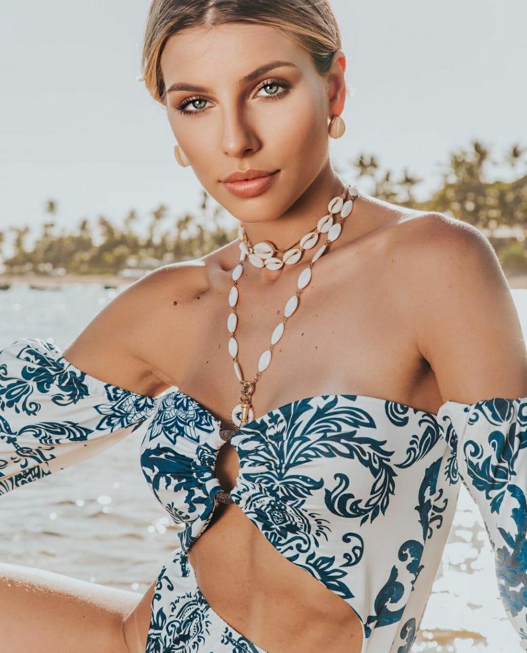 Body princesa argola estampa Santorini azul e branco